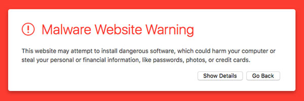 Malware Warning Notice for sites not routinely maintained